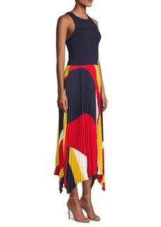 Ralph Lauren: Polo Alyah Pleated Sleeveless Handkerchief Midi Dress