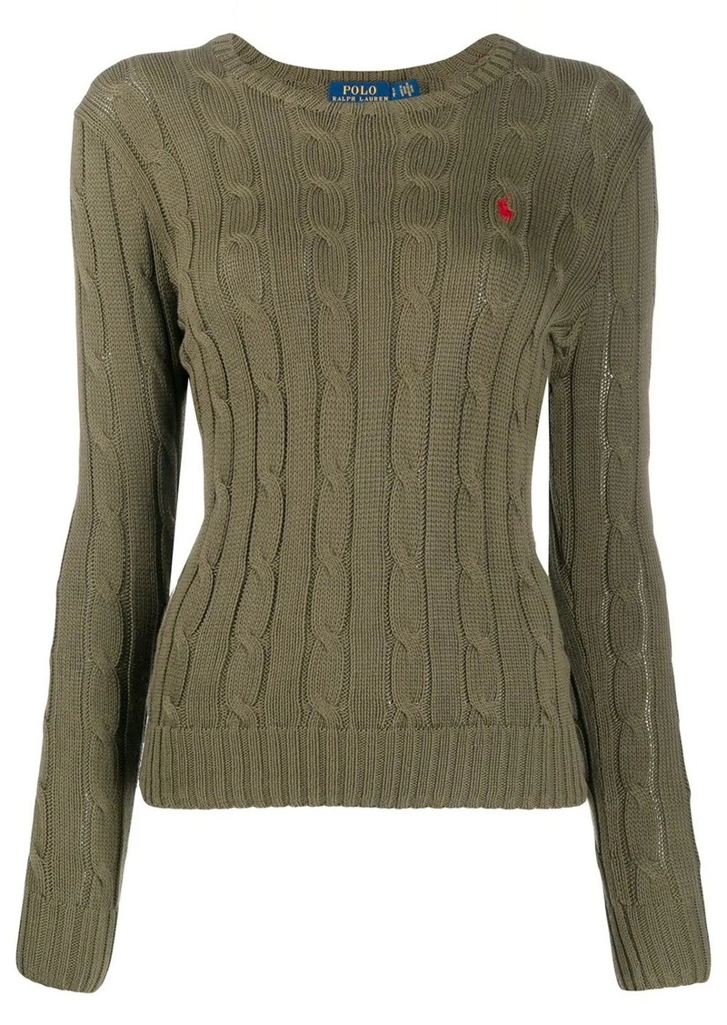 Ralph Lauren: Polo cable knit logo-embroidered jumper