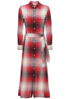 Ralph Lauren: Polo Check Cotton Blend Long Dress