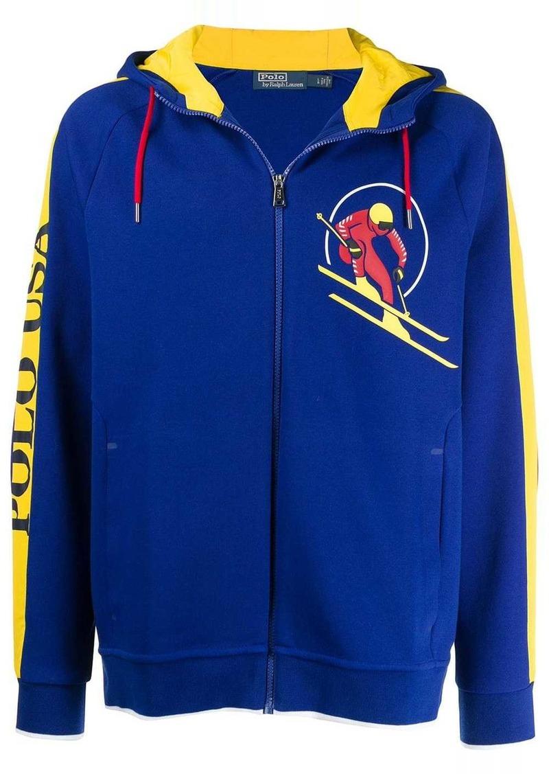 Ralph Lauren Polo contrast stripe zip hoodie