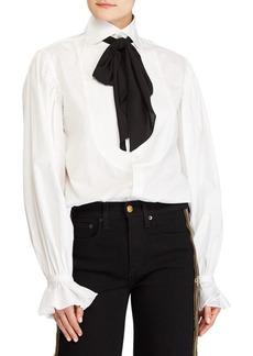 Ralph Lauren: Polo Cotton Tie-Neck Blouse