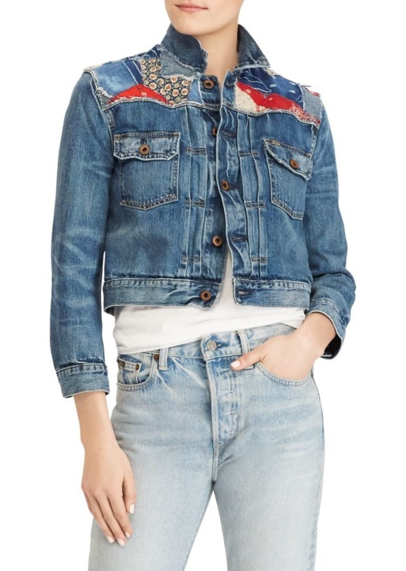 a7e7023f158 Ralph Lauren  Polo Cropped Patchwork Trucker Denim Jacket