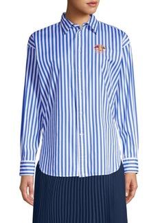 Ralph Lauren: Polo Ellen Embroidered Striped Long-Sleeve Button-Down Shirt