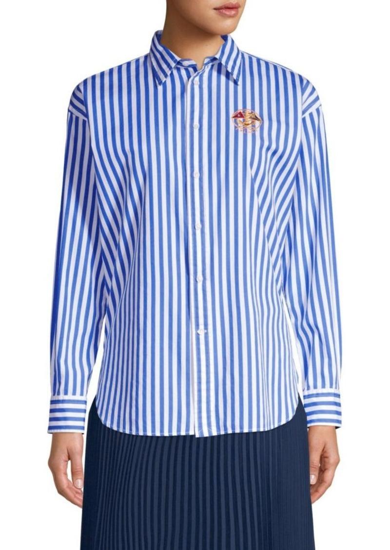 Ellen Embroidered Striped Long-Sleeve Button-Down Shirt