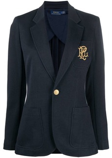 Ralph Lauren: Polo embroidered logo single-breasted blazer