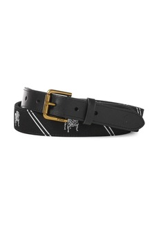 Ralph Lauren Polo Embroidered Stripe Belt