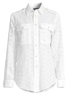 Ralph Lauren: Polo Eyelet Linen Button-Down Shirt