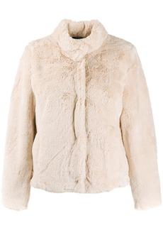 Ralph Lauren faux-fur fitted coat
