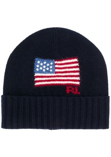 Ralph Lauren Polo flag-intarsia beanie hat