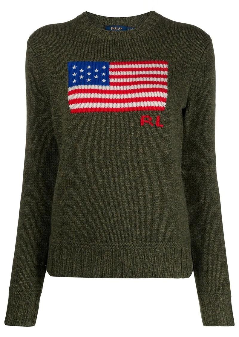 Ralph Lauren: Polo flag logo crew-neck jumper