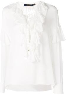 Ralph Lauren: Polo frill trim long-sleeve blouse