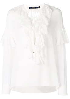Ralph Lauren: Polo frill trim long-sleeve blouse