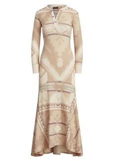 Ralph Lauren: Polo Geometric-Print Long-Sleeve Maxi Dress
