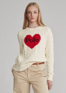 Ralph Lauren Polo-Heart Cable-Knit Sweater