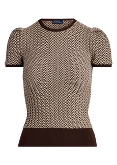 Ralph Lauren: Polo Herringbone Wool Puff-Sleeve Sweater