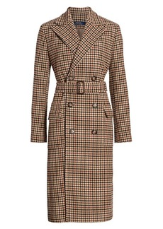 Ralph Lauren: Polo Houndstooth Double-Breasted Wool & Nylon Trench Coat