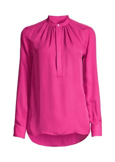 Ralph Lauren: Polo Ida Silk-Blend Mandarin Collar Blouse