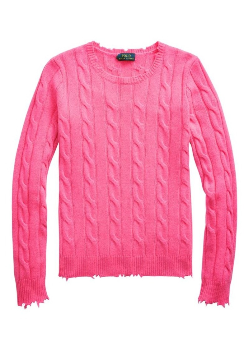 Ralph Lauren: Polo Julianna Cashmere Distressed Cable-Knit Sweater
