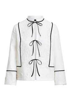 Ralph Lauren: Polo Lace-Embroidered Linen-Trim Tie Jacket