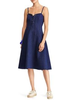 Linen Lace-Up Dress