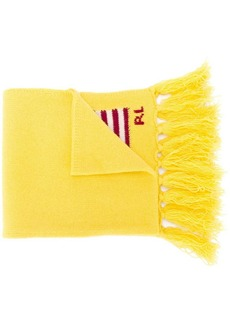 Ralph Lauren: Polo logo embroidered fringed scarf