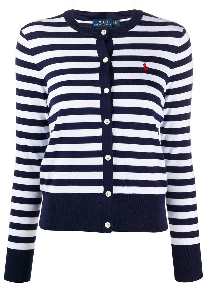 Ralph Lauren: Polo logo embroidered striped cardigan