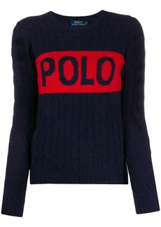 Ralph Lauren: Polo logo print cable knit jumper
