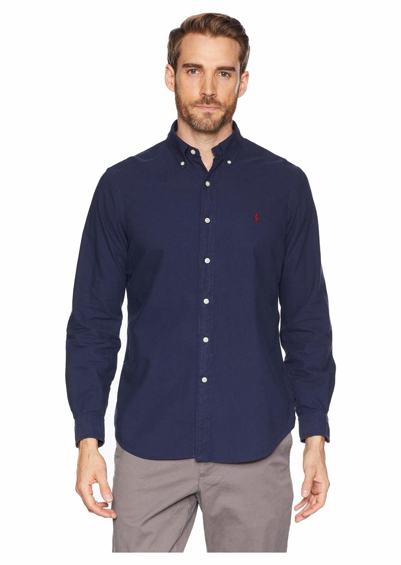 Ralph Lauren Polo Long Sleeve Solid Garment Dyed Oxford Classic Fit Sport Shirt