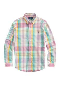 Ralph Lauren Polo Madras Long-Sleeve Button-Front Shirt