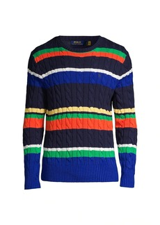 Ralph Lauren Polo Multicolor Striped Cable-Knit Sweater