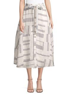 Ralph Lauren: Polo Patchwork Linen Mid Skirt