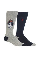 Ralph Lauren Polo Polo Ralph Lauren 2-Pack Big & Tall Sea Captain Bear Cotton Blend Crew Socks