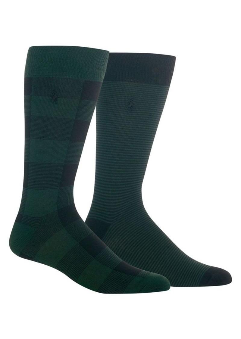 Ralph Lauren Polo Polo Ralph Lauren 2-Pair Buffalo Check and Striped Slack Socks