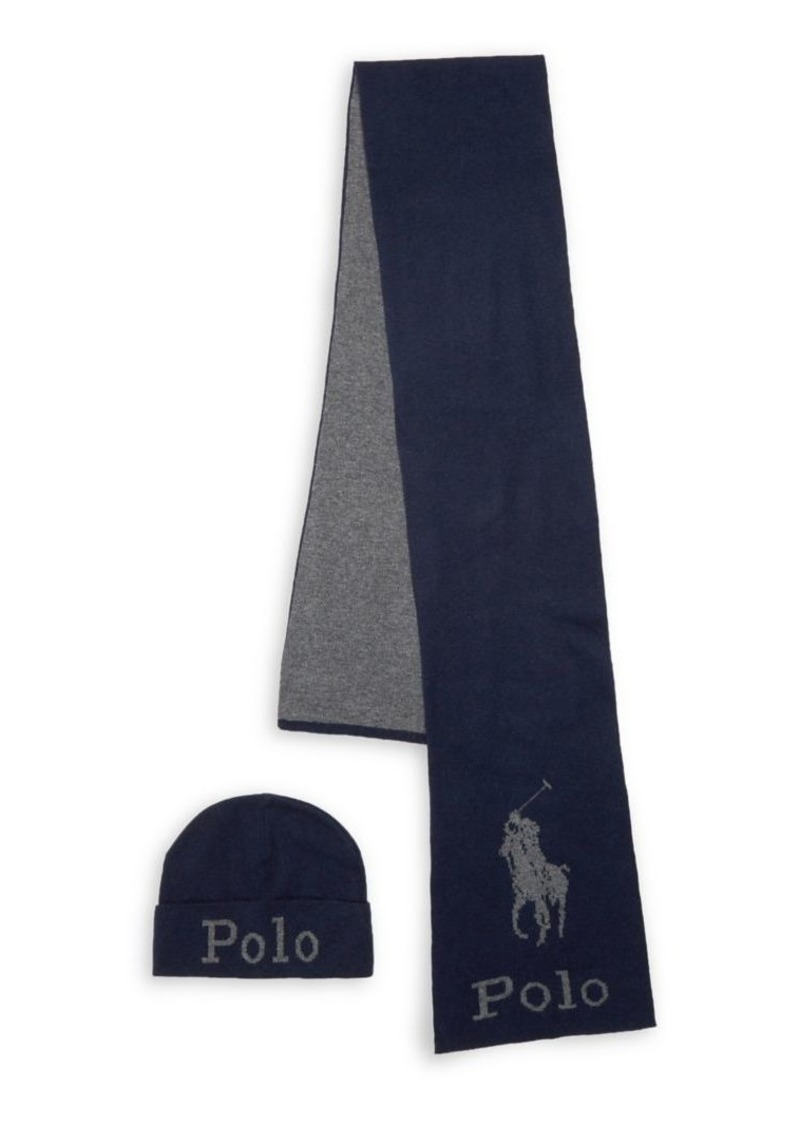 Ralph Lauren Polo Polo Ralph Lauren 2-Piece Wool-Blend Jacquard Embroidered Hat & Scarf