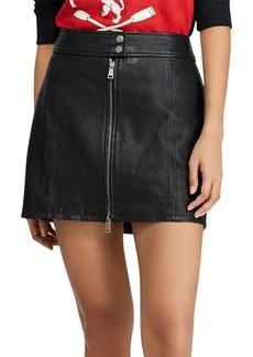 Ralph Lauren: Polo Polo Ralph Lauren A-Line Leather Miniskirt