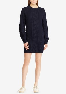 Ralph Lauren: Polo Polo Ralph Lauren Aran-Knit Wool Sweater Dress