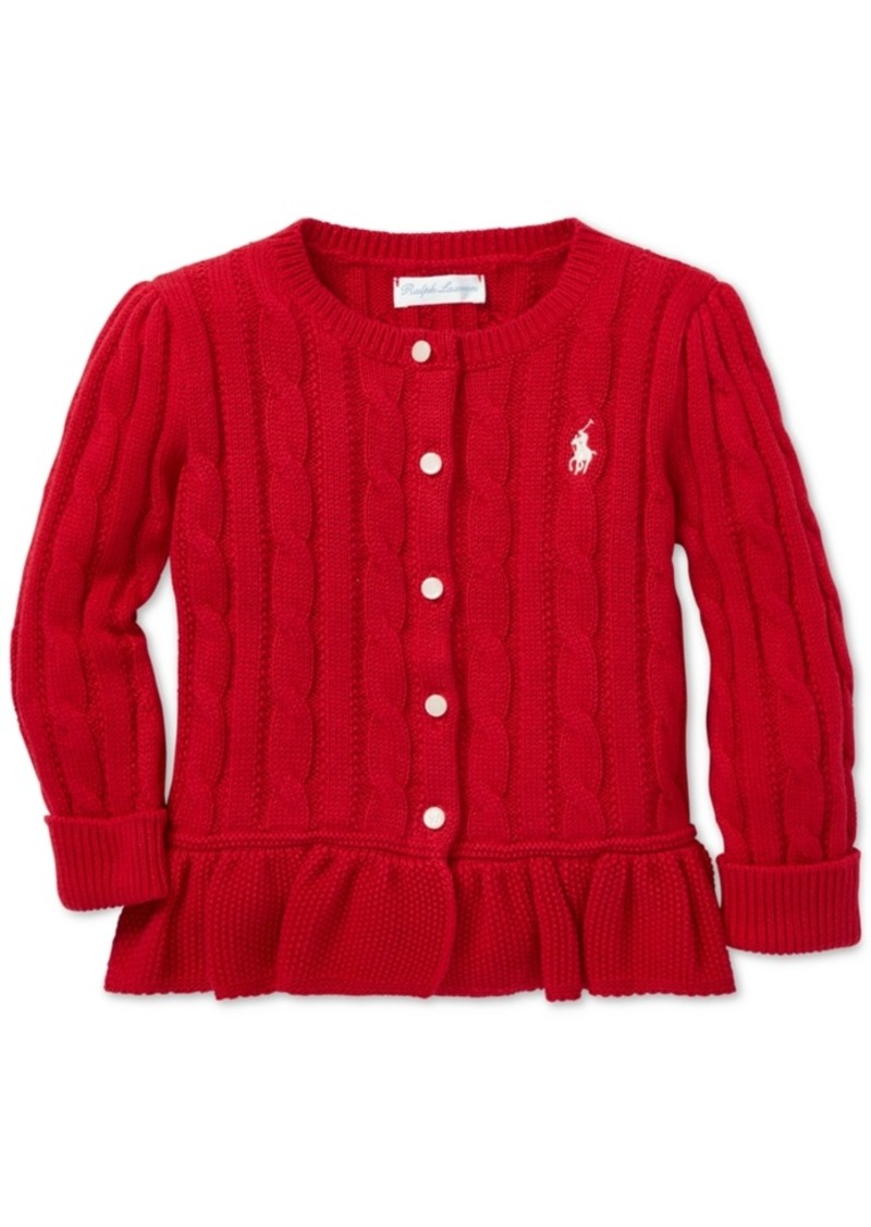 Cardigan Lauren Polo Cable Baby Knit Cotton Ralph Girls 8qwqOr05