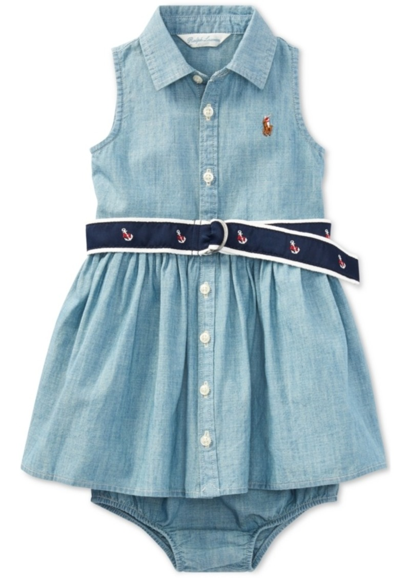 4a6b8bf44c Ralph Lauren  Polo Polo Ralph Lauren Baby Girls Cotton Chambray ...