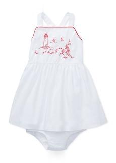 Ralph Lauren: Polo Polo Ralph Lauren Baby Girls Cotton Embroidered Lighthouse Dress