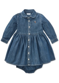 Ralph Lauren: Polo Polo Ralph Lauren Baby Girls Denim Cotton Shirtdress