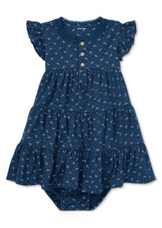 Ralph Lauren: Polo Polo Ralph Lauren Baby Girls Floral-Print Cotton Flutter-Sleeve Dress