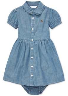 Ralph Lauren: Polo Polo Ralph Lauren Baby Girls Ruffled Cotton Chambray Dress