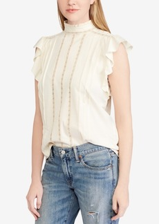 Ralph Lauren: Polo Polo Ralph Lauren Band-Collar Ruffled Cotton Top