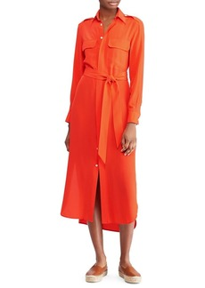 Ralph Lauren: Polo Polo Ralph Lauren Belted Silk Shirt Dress
