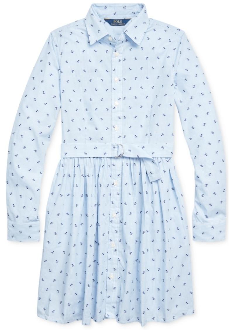 Ralph Lauren: Polo Polo Ralph Lauren Big Girls Anchor Cotton Shirtdress
