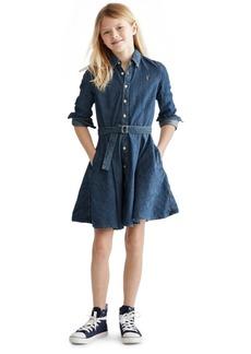 Ralph Lauren: Polo Polo Ralph Lauren Big Girls Denim Cotton Shirtdress