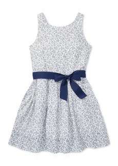 Ralph Lauren: Polo Polo Ralph Lauren Big Girls Floral-Print Fit & Flare Cotton Dress