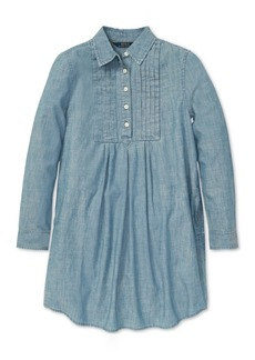 Ralph Lauren: Polo Polo Ralph Lauren Big Girls Pleated Cotton Chambray Dress