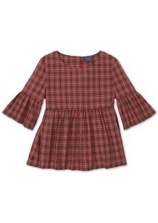 Ralph Lauren: Polo Polo Ralph Lauren Big Girls Tartan Cotton Bell-Sleeve Top
