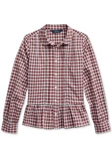Ralph Lauren: Polo Polo Ralph Lauren Big Girls Tartan Peplum-Hem Cotton Shirt, Created For Macy's